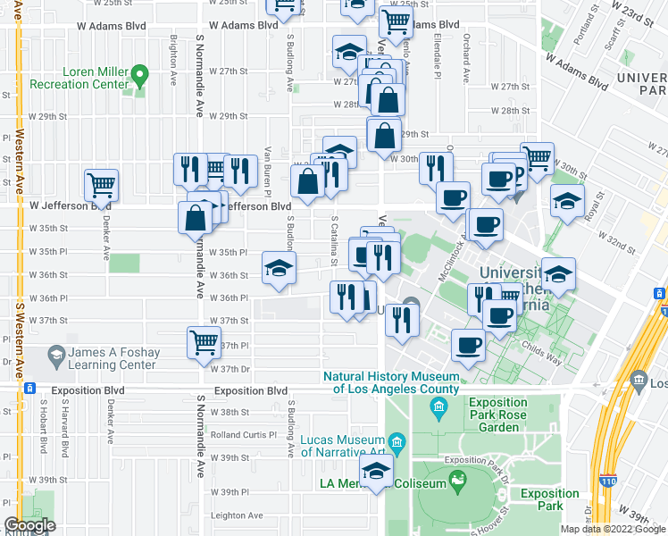 map of restaurants, bars, coffee shops, grocery stores, and more near S Catalina St & W 36th St in Los Angeles