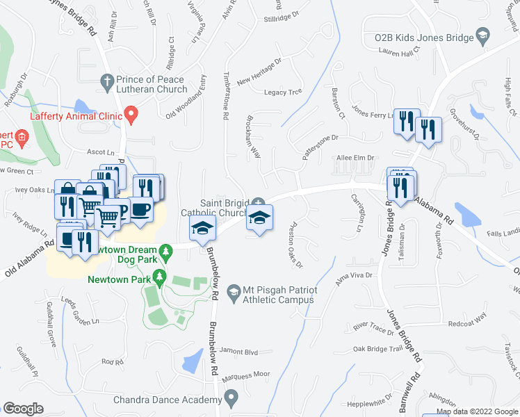 map of restaurants, bars, coffee shops, grocery stores, and more near 3400 Old Alabama Road in Johns Creek