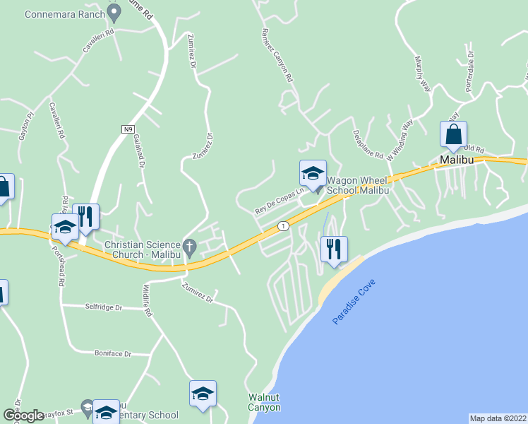 map of restaurants, bars, coffee shops, grocery stores, and more near 28258 Rey De Copas Lane in Malibu