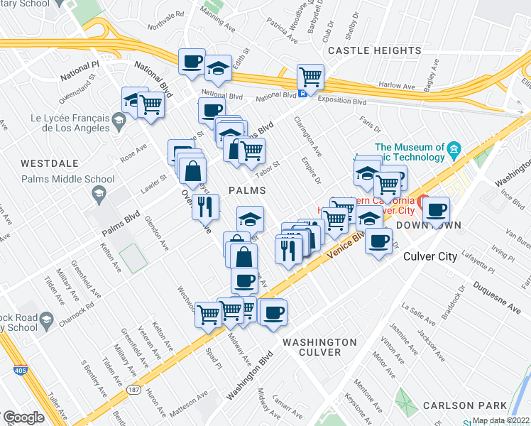 map of restaurants, bars, coffee shops, grocery stores, and more near 3662 Mentone Avenue in Los Angeles