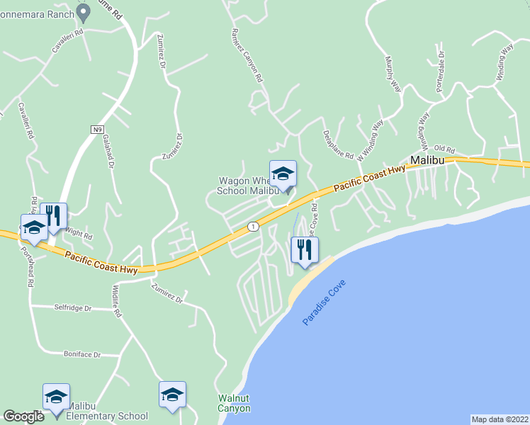 map of restaurants, bars, coffee shops, grocery stores, and more near 28304 Rey De Copas Lane in Malibu