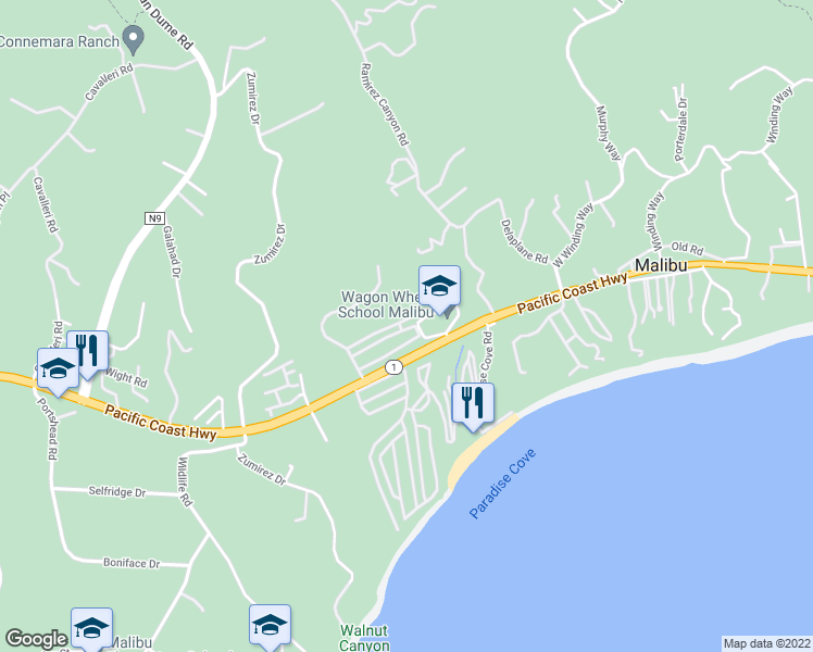 map of restaurants, bars, coffee shops, grocery stores, and more near 28186 Rey De Copas Lane in Malibu