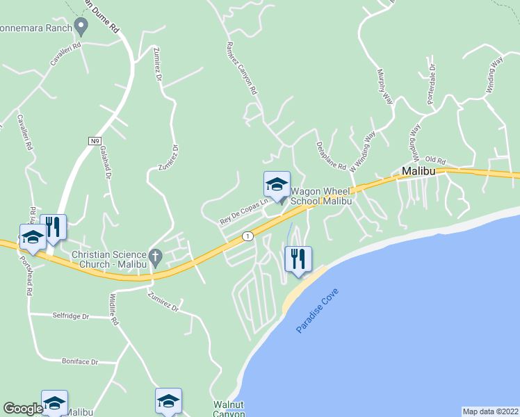 map of restaurants, bars, coffee shops, grocery stores, and more near 28170 Rey De Copas Lane in Malibu