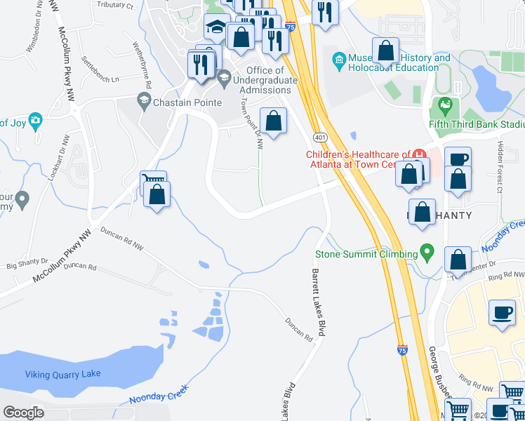 map of restaurants, bars, coffee shops, grocery stores, and more near 3780 Town Point Pkwy NW in Kennesaw