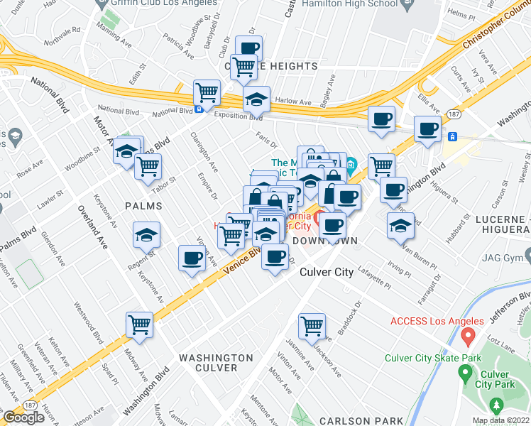 map of restaurants, bars, coffee shops, grocery stores, and more near 3752 Hughes Avenue in Los Angeles