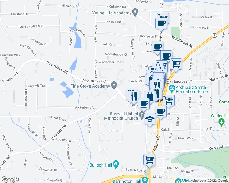 map of restaurants, bars, coffee shops, grocery stores, and more near 200 Pine Grove Road in Roswell