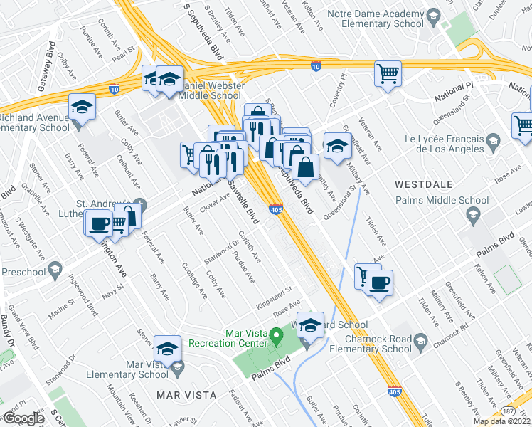 map of restaurants, bars, coffee shops, grocery stores, and more near 3165 Sawtelle Boulevard in Los Angeles