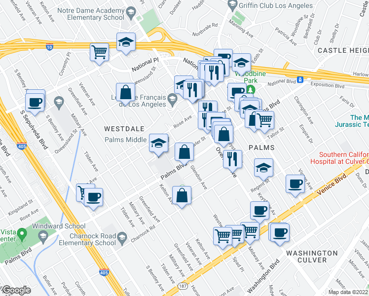 map of restaurants, bars, coffee shops, grocery stores, and more near 10773 Lawler Street in Los Angeles