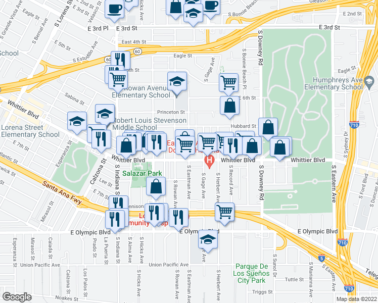 map of restaurants, bars, coffee shops, grocery stores, and more near 829 South Eastman Avenue in Los Angeles