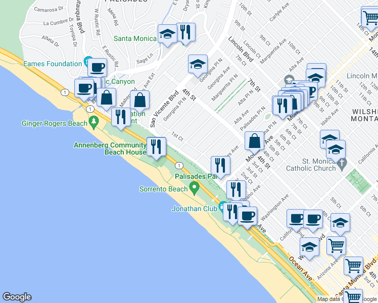 map of restaurants, bars, coffee shops, grocery stores, and more near 515 Ocean Avenue in Santa Monica