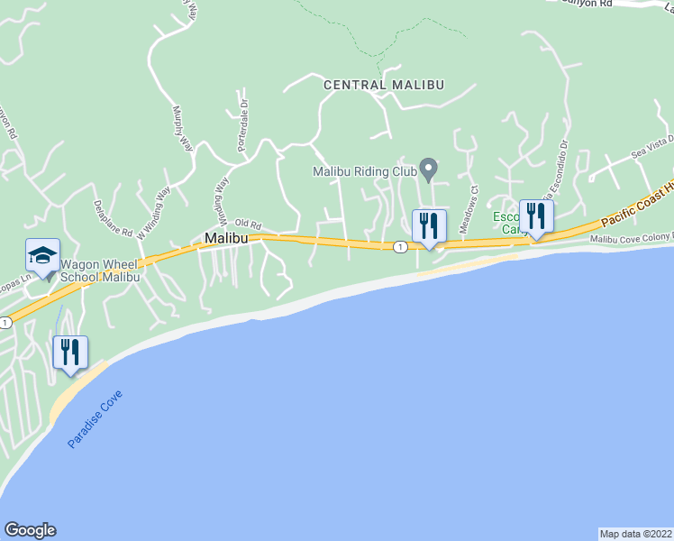 map of restaurants, bars, coffee shops, grocery stores, and more near 27560 Pacific Coast Highway in Malibu