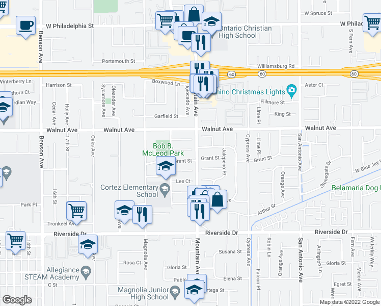 map of restaurants, bars, coffee shops, grocery stores, and more near 6287 Truman Court in Chino