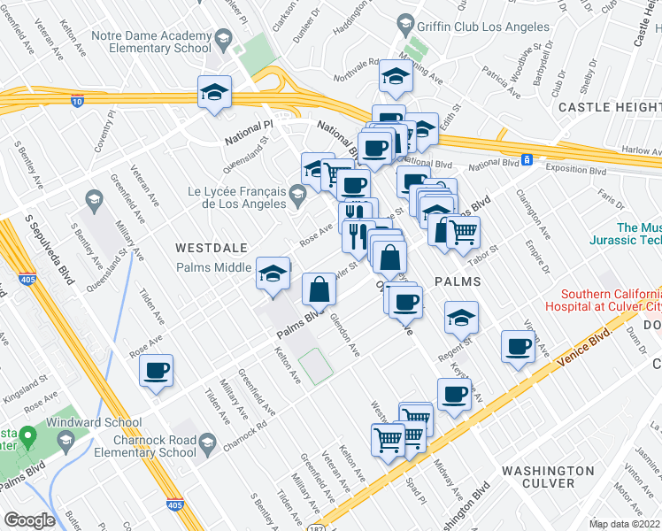 map of restaurants, bars, coffee shops, grocery stores, and more near 10740 Woodbine Street in Los Angeles