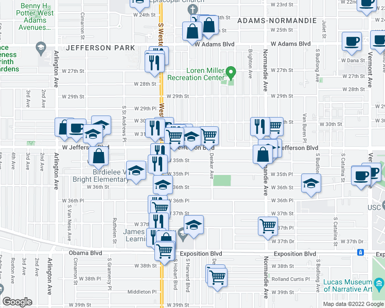 map of restaurants, bars, coffee shops, grocery stores, and more near 1610 West 35th Street in Los Angeles
