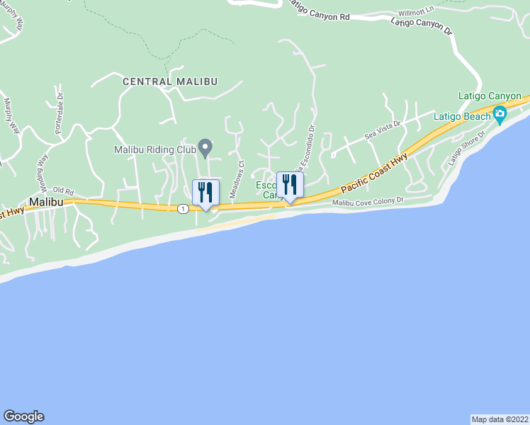 map of restaurants, bars, coffee shops, grocery stores, and more near 27208 Pacific Coast Highway in Malibu