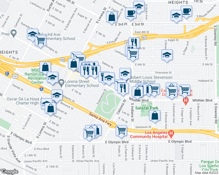 map of restaurants, bars, coffee shops, grocery stores, and more near 820 Esperanza Street in Los Angeles