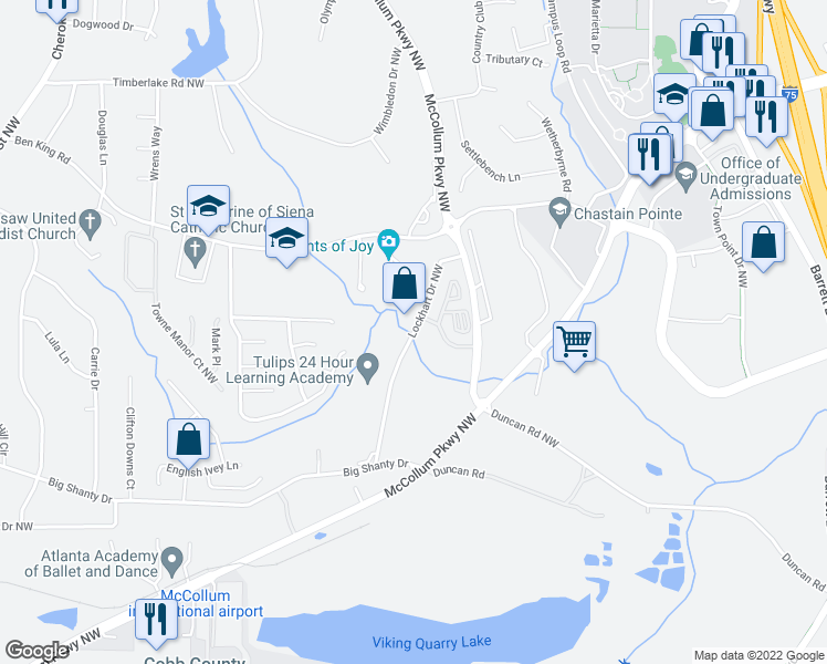 map of restaurants, bars, coffee shops, grocery stores, and more near 1360 Lockhart Drive Northwest in Kennesaw