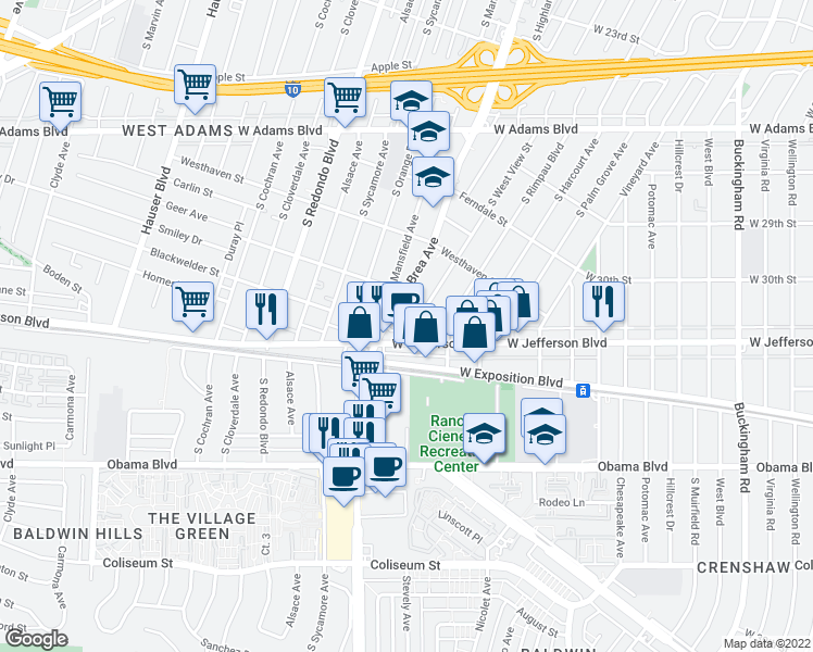 map of restaurants, bars, coffee shops, grocery stores, and more near 3031 West View Street in Los Angeles