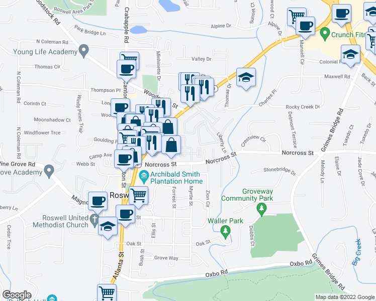 map of restaurants, bars, coffee shops, grocery stores, and more near 3000 Forrest Walk in Roswell