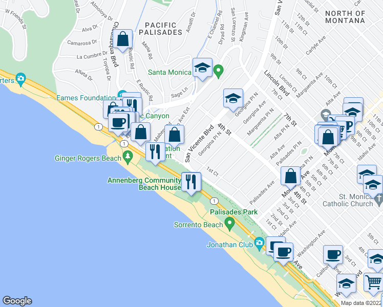 map of restaurants, bars, coffee shops, grocery stores, and more near 130 San Vicente Boulevard in Santa Monica
