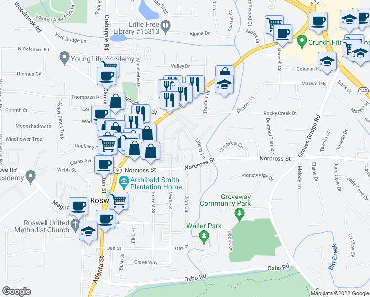 map of restaurants, bars, coffee shops, grocery stores, and more near 820 Freedom Lane in Roswell