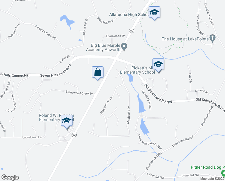 map of restaurants, bars, coffee shops, grocery stores, and more near 100 Maplewood Lane in Acworth