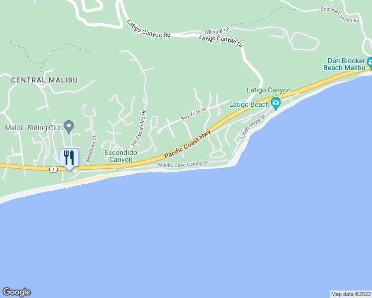 map of restaurants, bars, coffee shops, grocery stores, and more near 26900 Pacific Coast Highway in Malibu