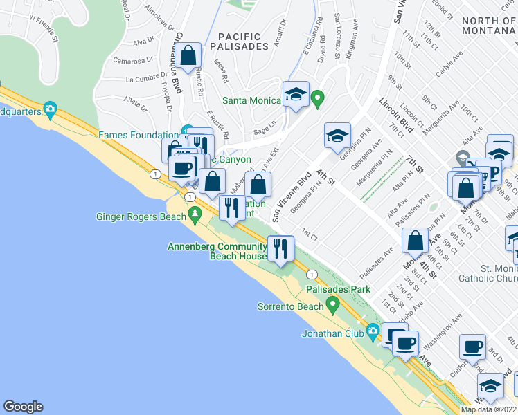map of restaurants, bars, coffee shops, grocery stores, and more near 201 Ocean Avenue in Santa Monica