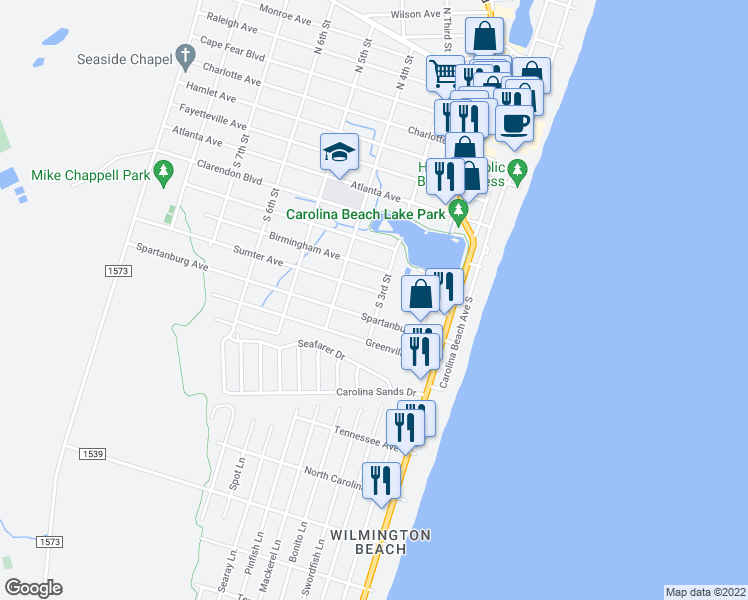 map of restaurants, bars, coffee shops, grocery stores, and more near 802 South Third Street in Carolina Beach