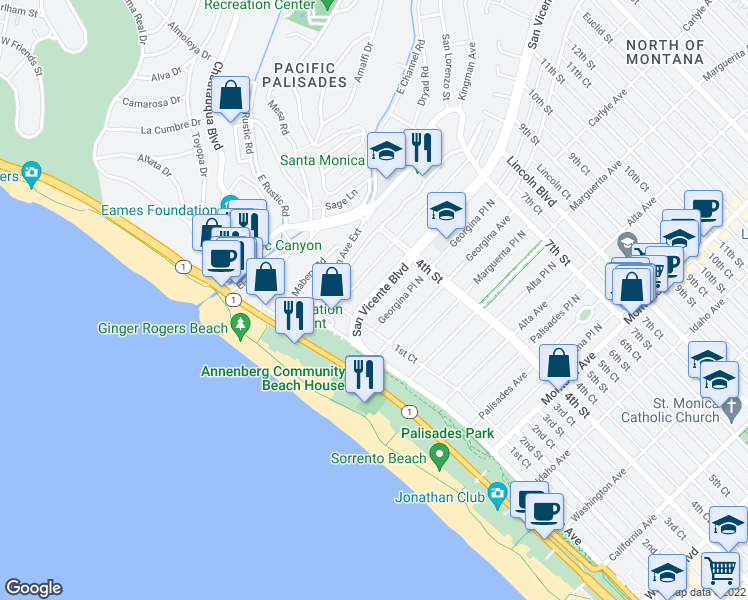 map of restaurants, bars, coffee shops, grocery stores, and more near 202 San Vicente Boulevard in Santa Monica