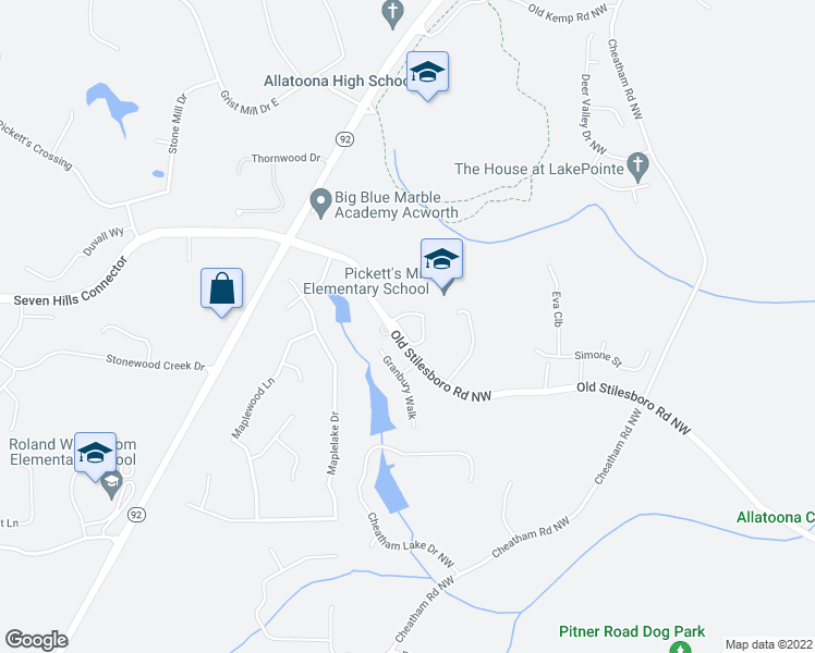 map of restaurants, bars, coffee shops, grocery stores, and more near 6378-6410 Old Stilesboro Road Northwest in Acworth
