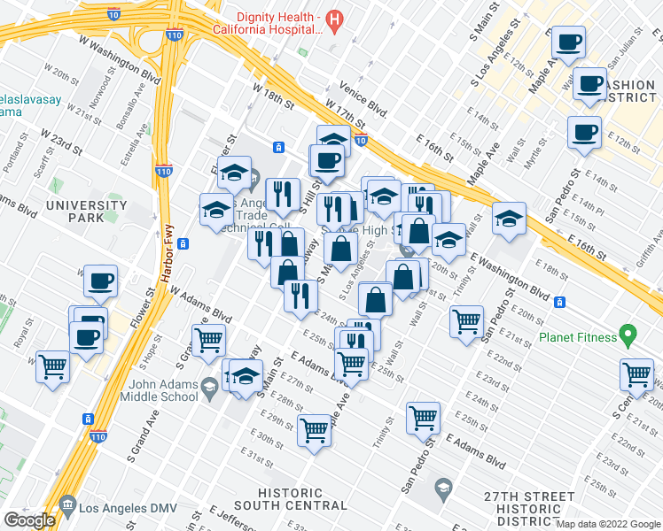 map of restaurants, bars, coffee shops, grocery stores, and more near 2200 South Main Street in Los Angeles