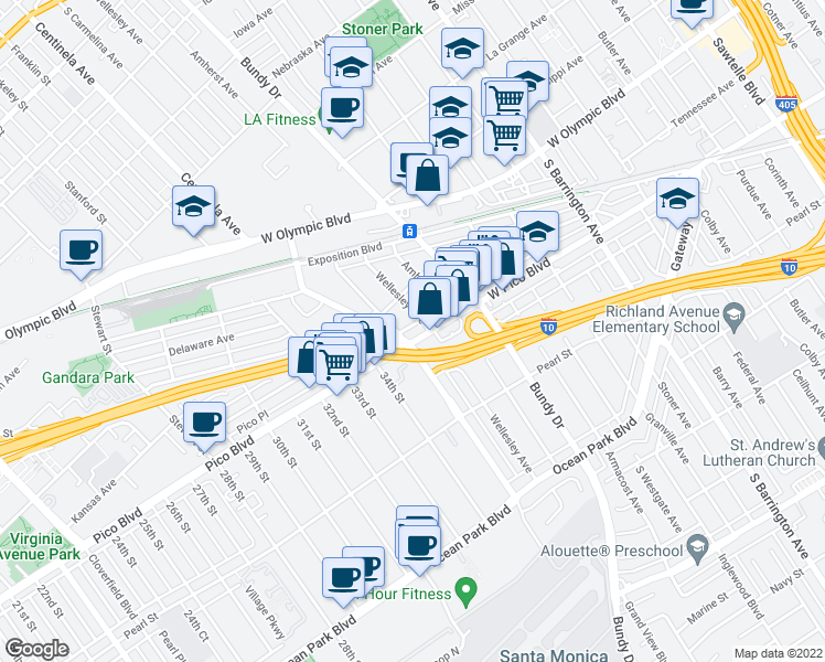 map of restaurants, bars, coffee shops, grocery stores, and more near 12301 West Pico Boulevard in Los Angeles