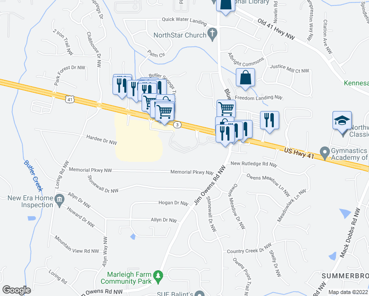 map of restaurants, bars, coffee shops, grocery stores, and more near 3093 Cobb Parkway Northwest in Kennesaw