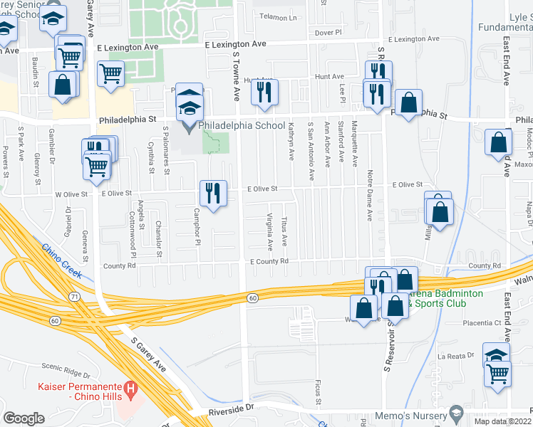 map of restaurants, bars, coffee shops, grocery stores, and more near 830 Diana Avenue in Pomona