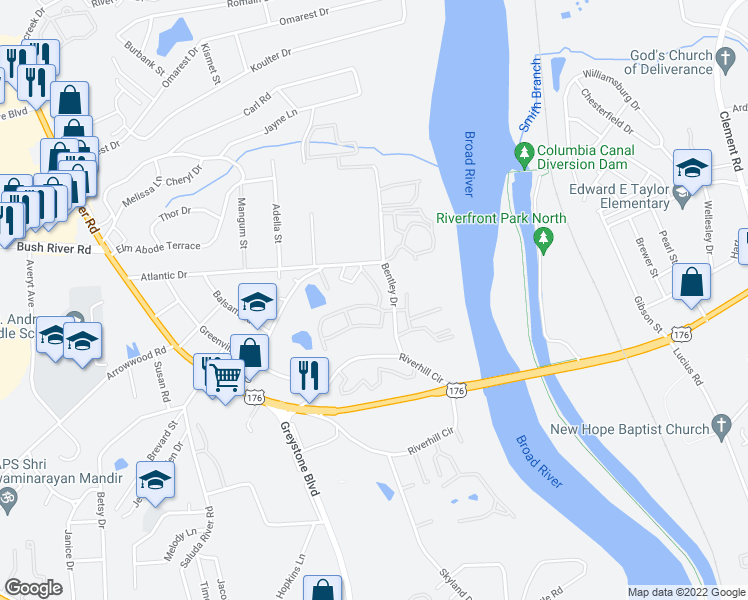 map of restaurants, bars, coffee shops, grocery stores, and more near 1000 Bentley Court in Columbia