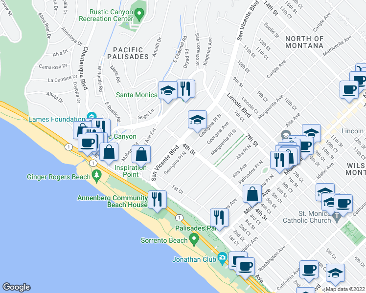 map of restaurants, bars, coffee shops, grocery stores, and more near 326 San Vicente Boulevard in Santa Monica