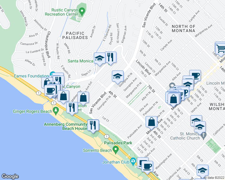 map of restaurants, bars, coffee shops, grocery stores, and more near 404 San Vicente Boulevard in Santa Monica