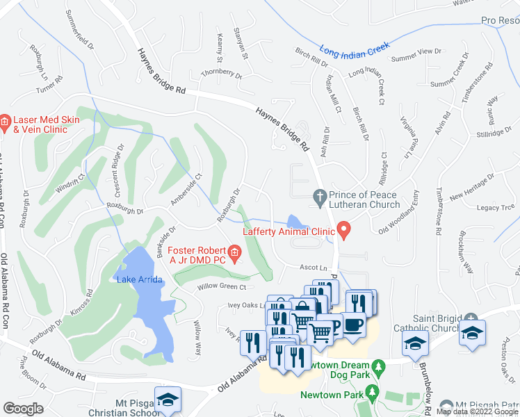 map of restaurants, bars, coffee shops, grocery stores, and more near 310 South Talbot Court in Roswell