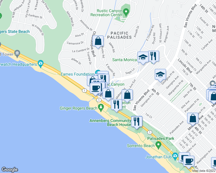 map of restaurants, bars, coffee shops, grocery stores, and more near 214 West Channel Road in Santa Monica