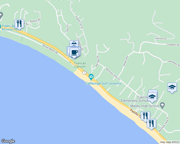 map of restaurants, bars, coffee shops, grocery stores, and more near 6457 Surfside Way in Malibu