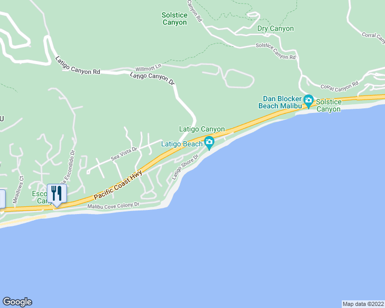 map of restaurants, bars, coffee shops, grocery stores, and more near 26664 Seagull Way in Malibu