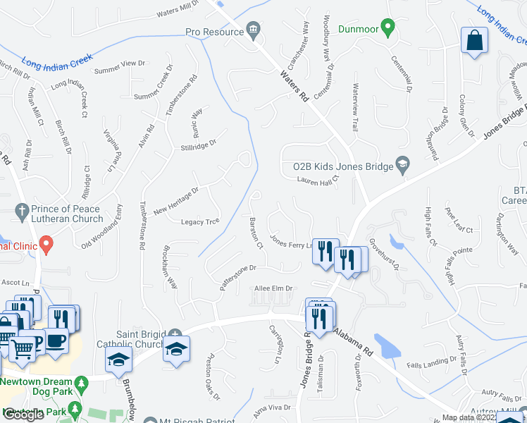 map of restaurants, bars, coffee shops, grocery stores, and more near 3530 Jones Ferry Lane in Alpharetta