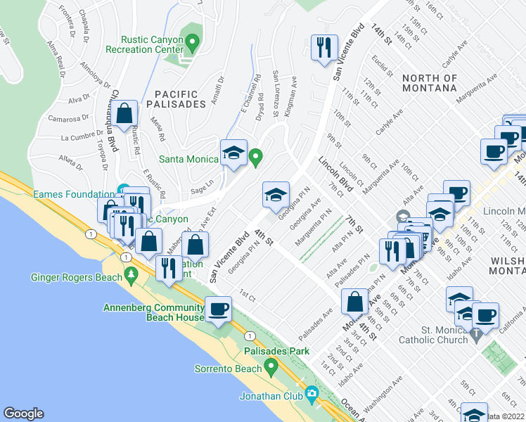 map of restaurants, bars, coffee shops, grocery stores, and more near 427 San Vicente Boulevard in Santa Monica