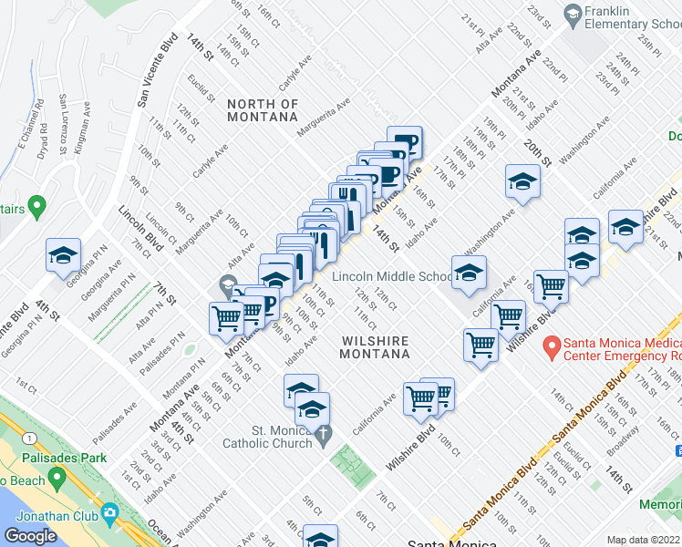 map of restaurants, bars, coffee shops, grocery stores, and more near 825 12th St in Santa Monica