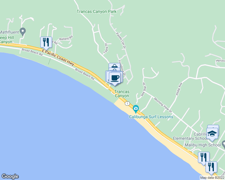 map of restaurants, bars, coffee shops, grocery stores, and more near 30751 Pacific Coast Highway in Malibu