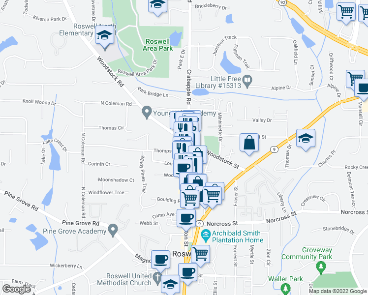 map of restaurants, bars, coffee shops, grocery stores, and more near 1180 Canton Street in Roswell