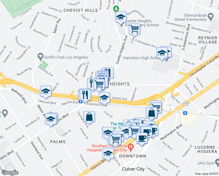 map of restaurants, bars, coffee shops, grocery stores, and more near 3335 South Beverly Drive in Los Angeles