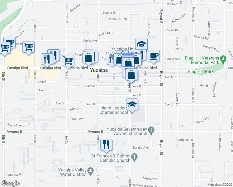map of restaurants, bars, coffee shops, grocery stores, and more near 35016 Avenue C in Yucaipa