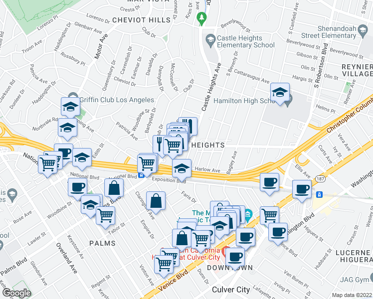 map of restaurants, bars, coffee shops, grocery stores, and more near 9800 National Boulevard in Los Angeles